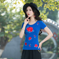 5XL Plus Size 6 Color Womens Summer T Shirt Short Sleeve O-neck Casual Cotton embroidered Tops Tees Female Ladies T-shirt