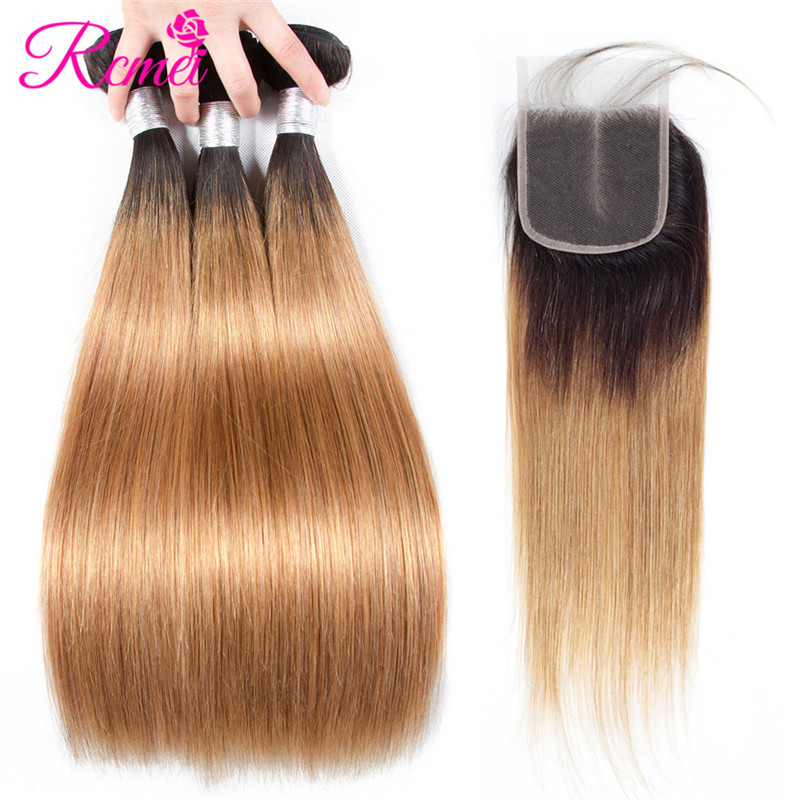 Rcmei Pre-Colored Bundle Pack Ombre 1B/27 Brazilian Straight Hair Bundle With Closure Blonde Hair 3 Bundles With Clousre NonRemy