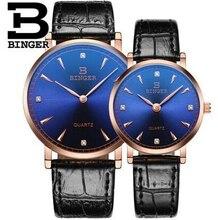 De lujo Binger Cuarzo de la Marca de Relojes de Cuero Hombres Mujeres Amantes de Los Relojes de Acero Inoxidable Reloj Impermeable Relogio Feminino