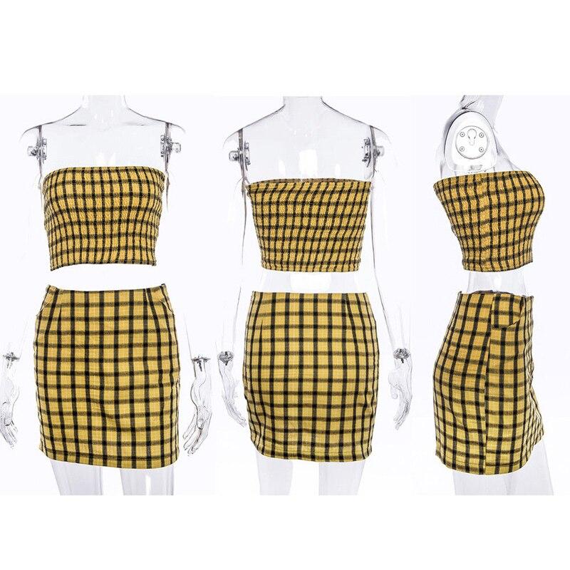 937590ec6 € 8.08 12% de DESCUENTO|Ropa de verano dulce a la moda para mujer, con  hombros descubiertos, a cuadros amarillos, flacos, de longitud corta, Mini  ...