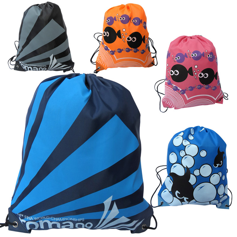 30PCS / LOT Women Drawstring Bag Oxford Waterproof Backpack Cute Fish Bag Large Capacity Pouch Travel Backpack