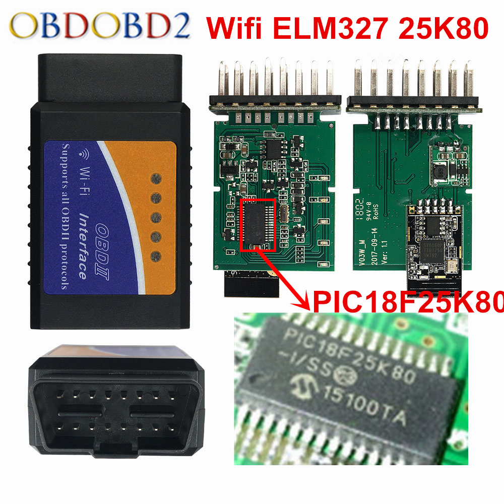 2018 Best ELM327 WIFI V1.5 PIC18F25K80 Scanner ELM 327 WI-FI IOS Android Windows Auto Code Reader WIFI 1.5 Interface 25K80 Chip