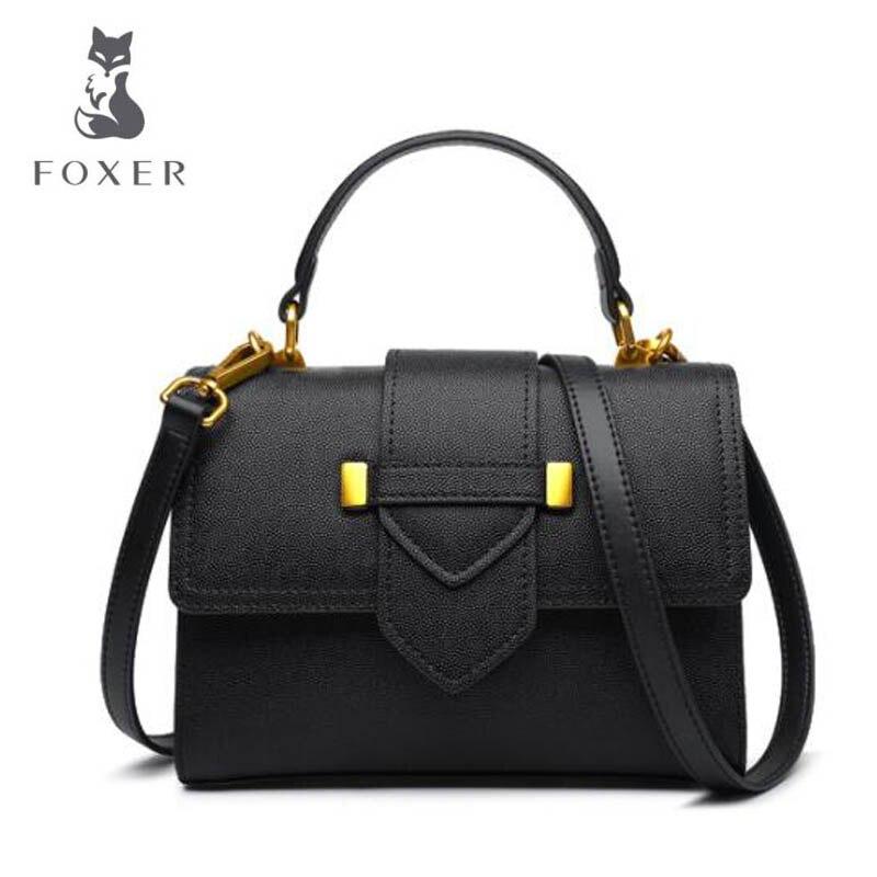 FOXER 2018 New women Leather bag fashionluxury handbags women bags famous brand designer women leather Shoulder Crossbody Bags foxer brand 2018 women leather crossbody bag