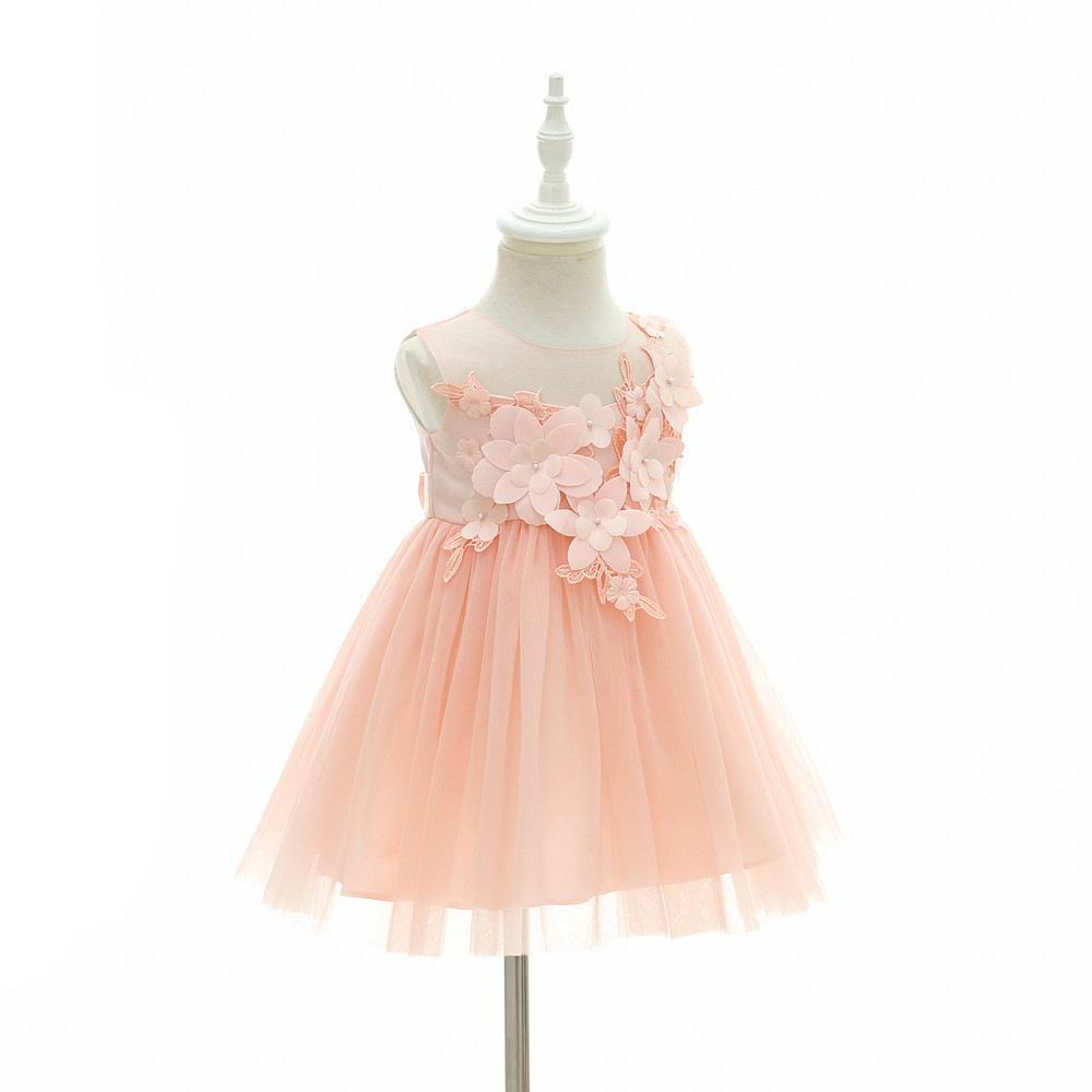 Baby Girl First Birthday Dress Flowers Pink Tulle Princess Dress For ... df6c07384bdd