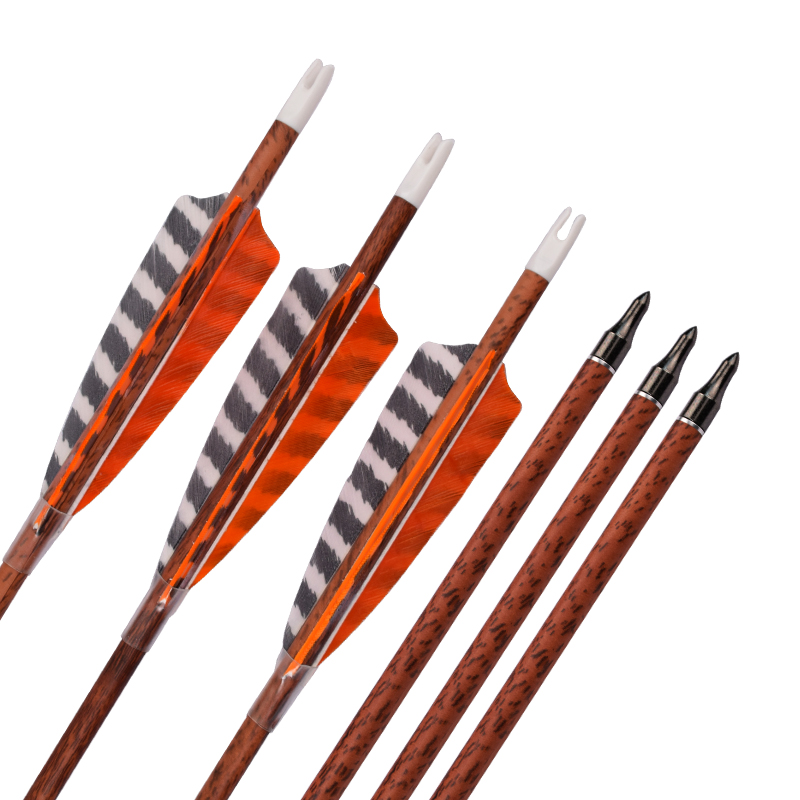 6PCS 30 SP400 Wood Carbon Camo Arrow 4 Turkey Feather Screw Field Point For Outdoor Traditional Bow Archery Free Shipping