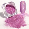 Láser holográfico Glitter Rosa Púrpura Brillante Manicura Nail Art Glitter Polvo ultrafino 1.5g