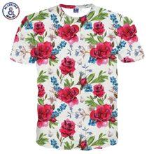 2017 Mr.1991INC Brand T-shirt Men/Women Fashion Flowers T shirt 3d Print Birds Green Leaves Tshirt Summer Tops Tees Plus Size 3X
