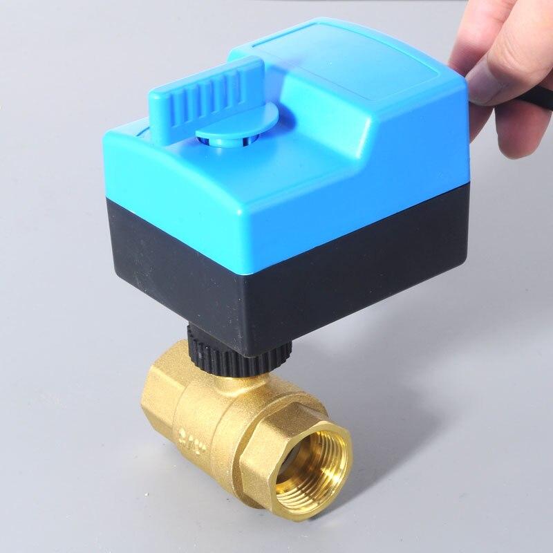 DN25 (G1.0 ) AC220V actionneur électrique vanne à boisseau sphérique en laiton/vanne à boisseau sphérique motorisée/motorisée, type de commutateur vannes bidirectionnelles électriques