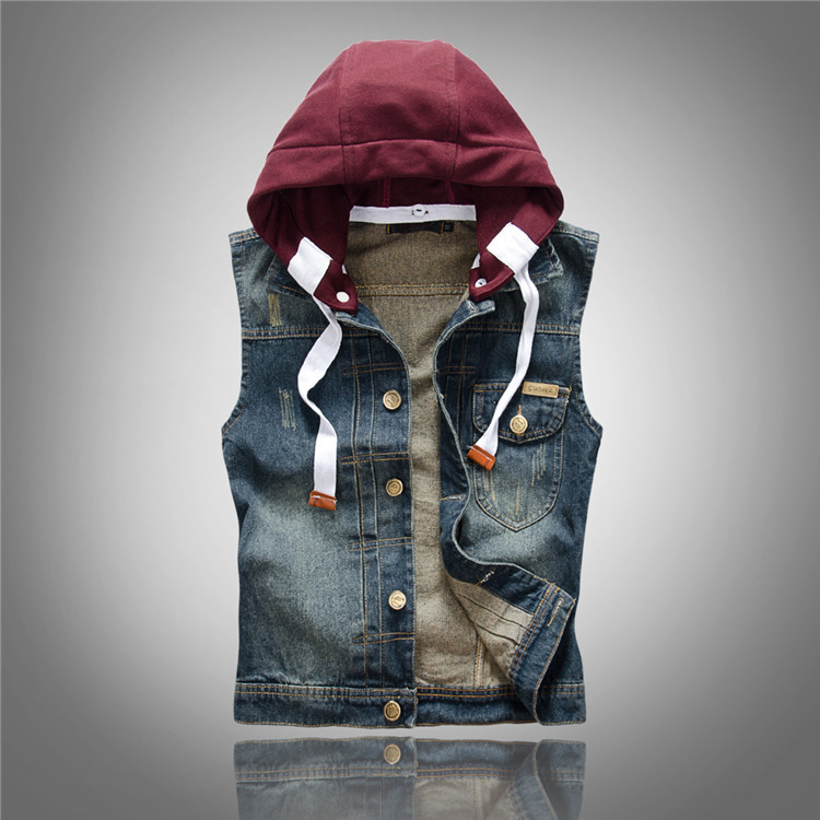 51f92b64bd0 New Brand Men s Summer Denim Vest Men Jean Sleeveless Jacket Mens Tops Slim  With Hooded Camouflage Outerwear Jackets Vests 4XL-in Vests   Waistcoats  from ...