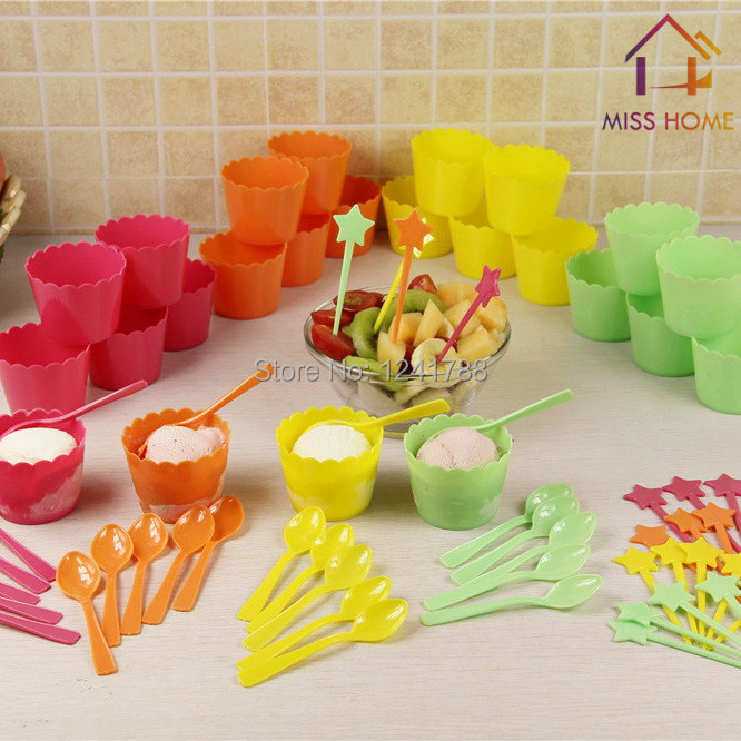 (72 pieces/set) Plastic Ice Cream Cups Bowls Tubs Set With Spoons And Fruits Sticks (MH-1027)