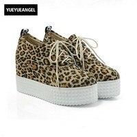 New Arrival Fashion Women Shoes Lace Up Platform Wedges Heel For Women Leopard Faux Suede Shoes