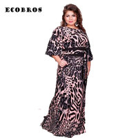 ECOBROS Big Size 6XL 2017 New Fat MM Woman Dress Loose Leopard Printing Long Dresses With