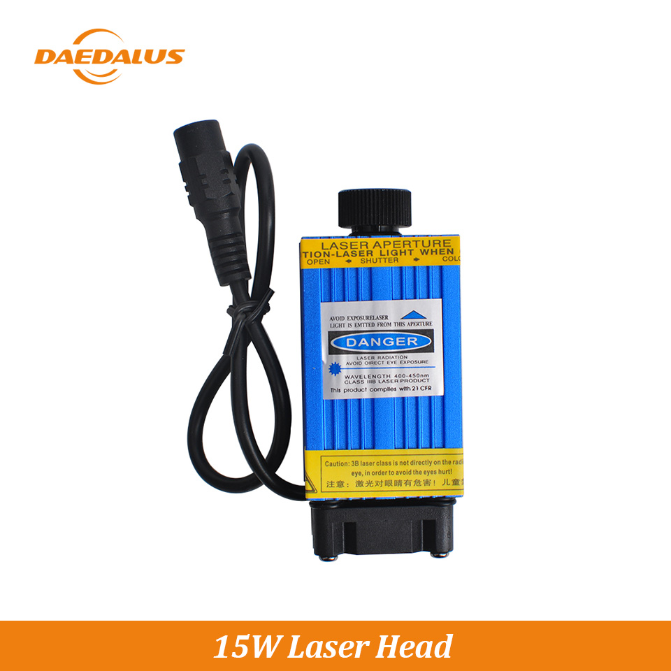 Daedalus Free Shipping 15W CNC Engraving Laser Head Stainless Steel Cutting Laser Module 1500MW For Laser Milling Wood Machine