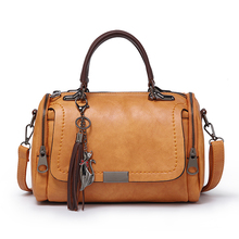Women Vintage Boston Handbags High Quality PU Shoulder Bag Girl Tassel Bolsa
