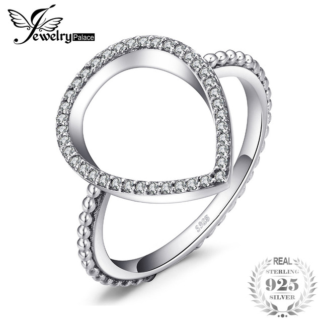 Jewelrypalace 925 Sterling Silver Pave Cubic Zirconia Waterdrop Halo Ring Gift W