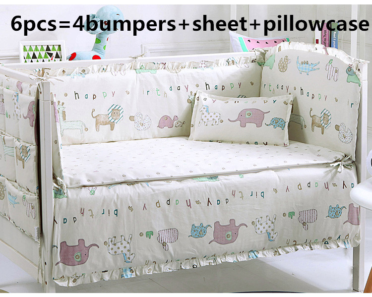 Promotion! 6PCS Baby Boy Crib Bedding Sets Crib Cot Cradle Bedlinen ,include(bumpers+sheet+pillow Cover)