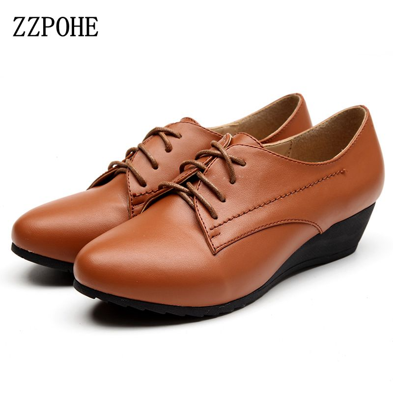 ZZPOHE 2017 Spring Autumn New Fashion High Heels Women Genuine Leather Single Shoes Women Soft Lace-Up Pumps Ladies Wedges Shoes egonery shoes 2017 spring and autumn concise wedges butterfly knot pumps simple lace up sweet round toe women fashion high heels