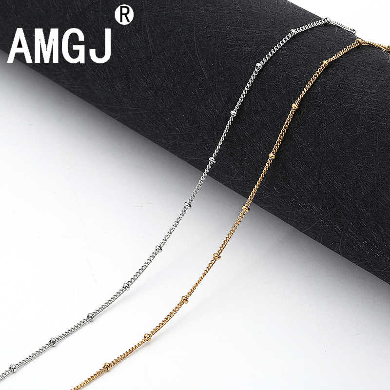 AMGJ 316L Stainless Steel Necklace Chain Vacuum Plating Gold Women Link Chain Necklace Accessories 2mm Width