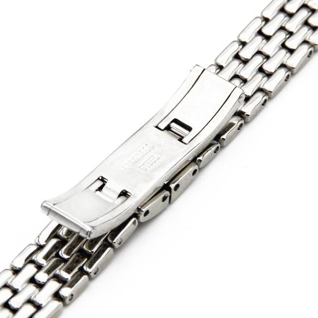 Stainless Steel Watch Band 10mm for CK Calvin Klein Hidden Clasp Strap Quick Release Loop Women Wrist Belt Bracelet Silver