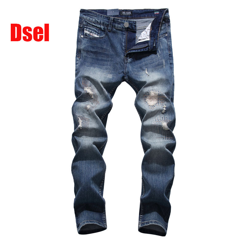 2016 New Dsel Brand Fashion Designer Jeans Men Straight Blue Color Printed Mens Ripped Jeans,100% Cotton,C701