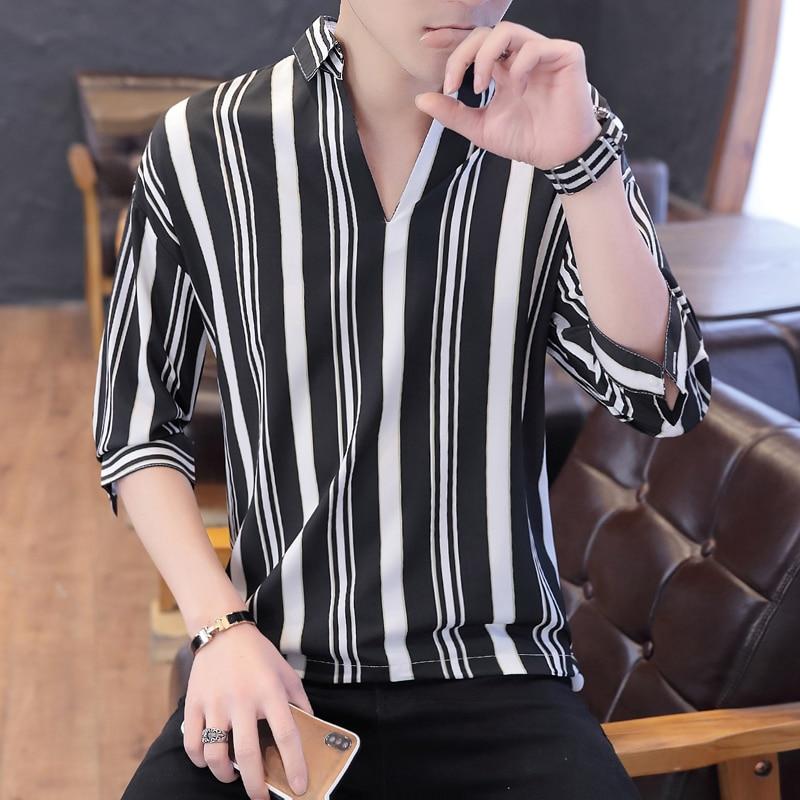 7913746e6 2019 verano hombres nuevo patrón de manga corta ropa rayas impresión camisa  negro Hombre Ropa ...