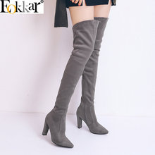 Eokkar 2020 Pointed Toe Women Over The Knee High Thick Heels Zipper Winter Shoes Heel Black Flock Ladies Boots Size 34-43