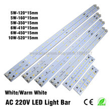 10pcs AC 220v High Brightness LED Light Bar Strip Driverless for T5 T8 Tube, 5w 6w 8w 10w 180-260v SMD 5730 led pcb Light Source(China)