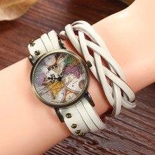 Vintage Hot Fashion Women Quartz Watches Discovery of the new world Leather Band Wristwatch Elegant Relogio Feminino