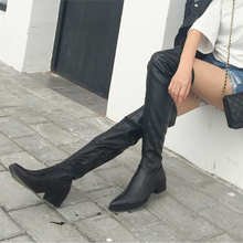 Fashion Women Sexy   High Thick Heels Platform Round Toe  Boots Women Shoes Woman  Over The Knee Boots