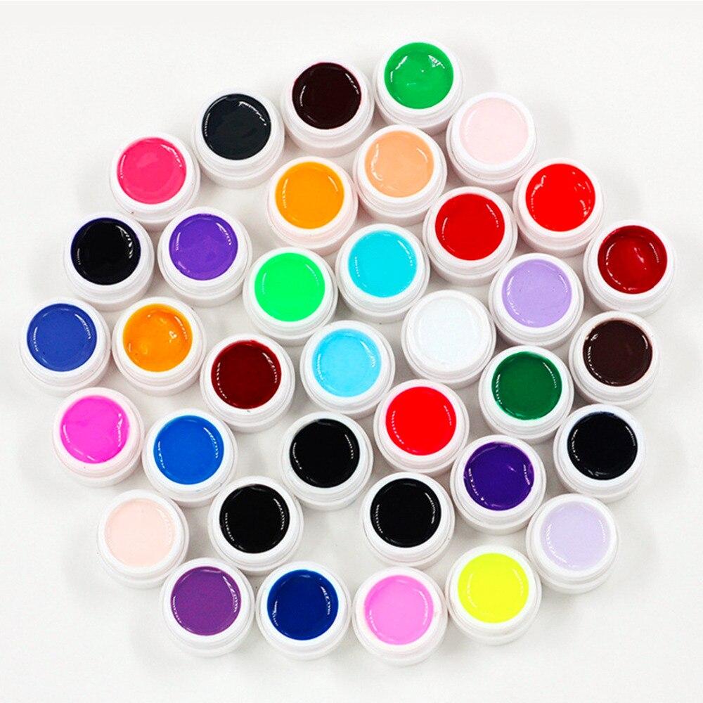 36 boxen UV Gel Solide Farbe Nagel Gel Reine Farben Shiny Verlängerung Langlebige Nail art Tipps Kleber Lack Nagel Malerei polnisch