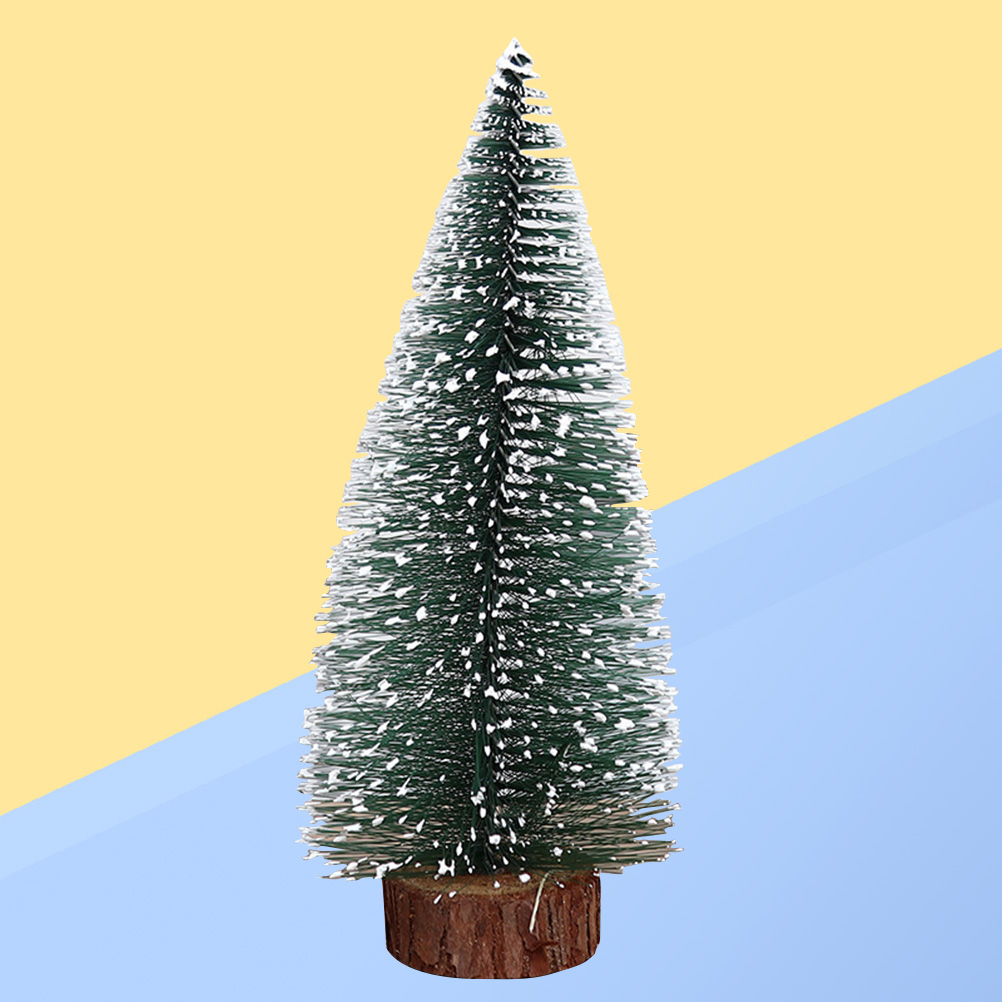 Tabletop Christmas Tree.Us 0 9 39 Off 1pc Mini Frosted Desktop Tabletop Christmas Tree Pine Tree With Wood Base Party Supplies For Christmas Office Shop Decoration In