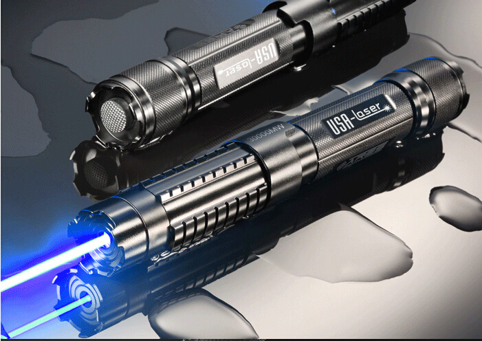 Strong Power Military Blue laser pointers 5000000m 500w 450nm Flashlight Burning match/Dry wood/candle/black/cigarettes+5 caps