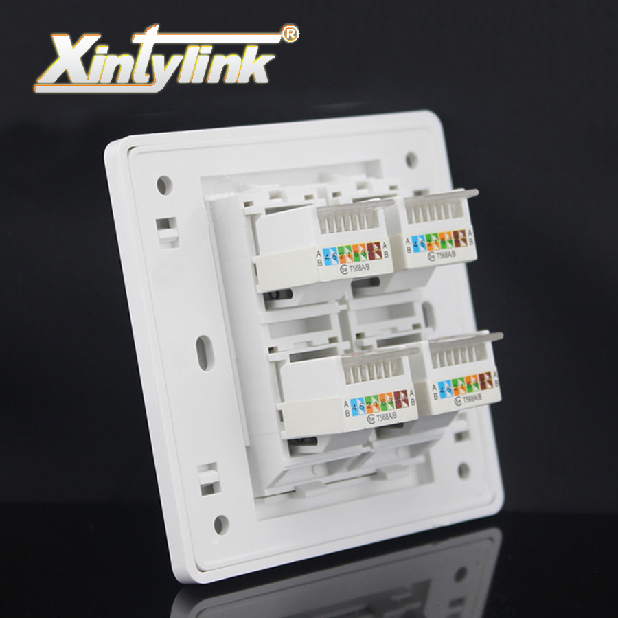 xintylink rj45 Socket jack modular 4 Port cat5e cat6 Keystone white pc Wall Face plate Faceplate toolless wall socket panel 86mm 120mm wall plate 4 ports network ethernet lan cat5e rj45 socket panel faceplate home plug adapter