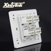 xintylink rj45 Socket jack modular 4 Port cat5e cat6 Keystone white pc Wall Face plate Faceplate toolless wall socket panel 86mm