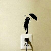 Romance Kiss Umbrella Rain Girl Fashion Vinyl Wall Decal Switch Sticker 6SS0053