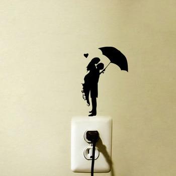 Romance Kiss Umbrella Rain Girl Fashion Vinyl Wall Decal Switch Sticker 6SS0053 1