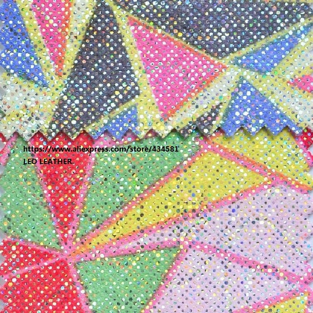 Rainbow Glitter PU Leather For DIY Accessories Wallpaper Handbags And Shoes P1067