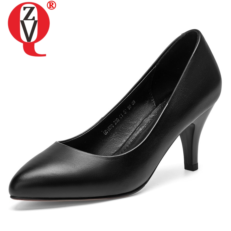 ZVQ 2019 spring hot sale new concise genuine leather women pumps high spike heels shallow slip
