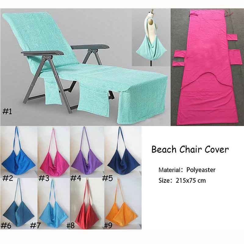 215x75cm Microfiber Fiber Magic Beach Towel Sunbath Summer Lounger Bed Mate Portable Chair Cover Outdoor Beach Towel with Pocket