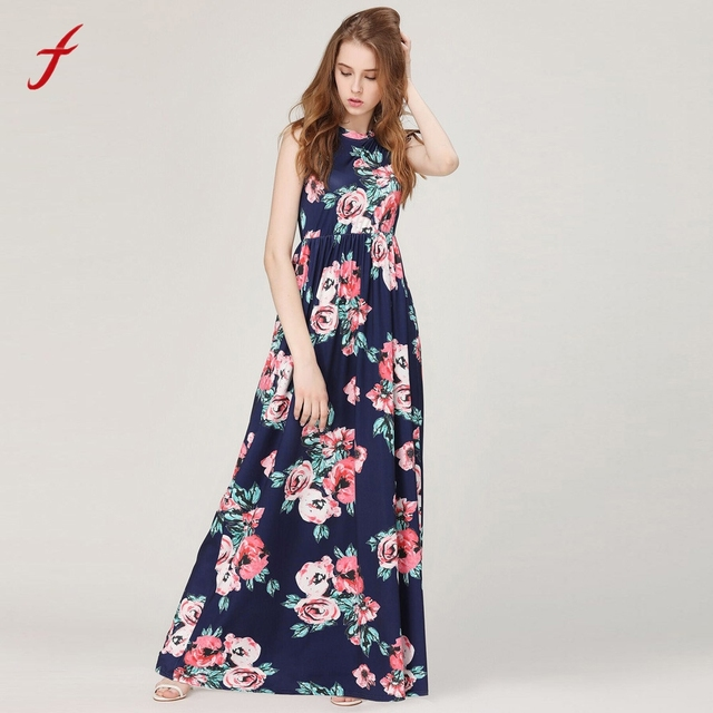 57ec360d3916 Women Floral Print Sleeveless Boho Dress Ladies Party Long Maxi Dress  summer dress 2019 vestidos women dress Bohemian