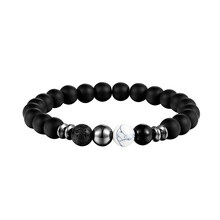 LIVVY 2018 New design of high quality volcano black pearl jewelry elastic energy natural stone man bracelet bracelets AS303(China)