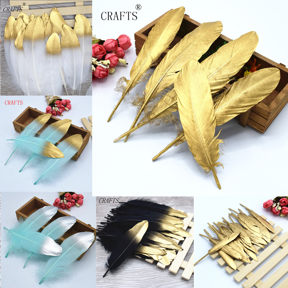 20 pieces beautiful spray gold goose feather DIY jewelry decorative accessories ...