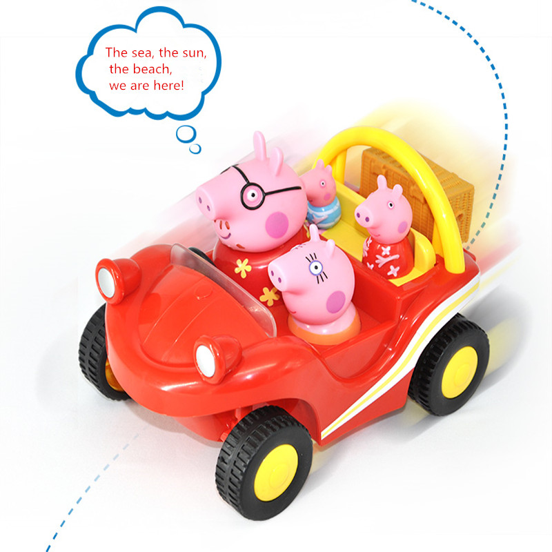 Original Product peppa pig George guinea pig Family Holiday Campervan Beach Buggy Driver peppa to school car toy Children's gift peppa s car ride
