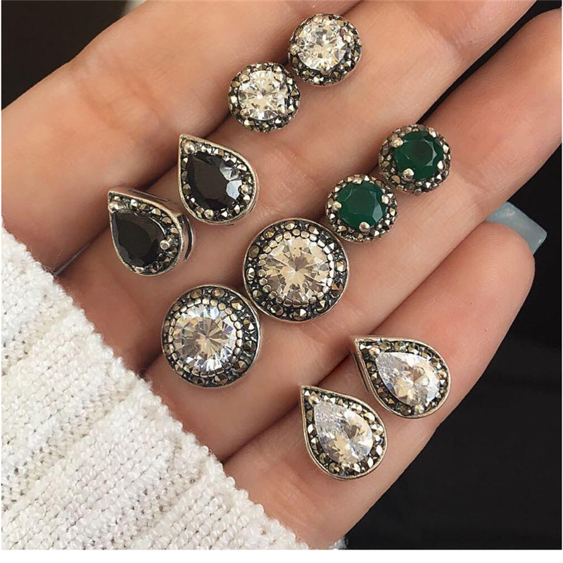 Miss JQ Mixed Bohemia Stud Earrings Set For Women Round Square Geometric Shape Crystal Earrings Party Jewelry boucle doreille