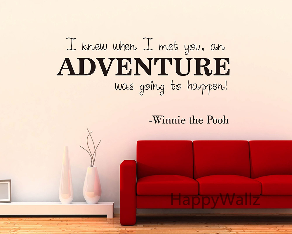 Winnie The Pooh Love Quote Wall Sticker Adventure Lettering Quote Wall Decal  DIY Modern Love Custom Color Vinyl Wall Sticker Q41 In Wall Stickers From  Home ...