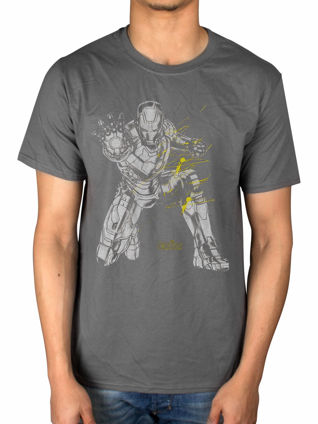 Official Marvel Avengers Di Ultron Iron Man Splash T-Shirt Merchandise