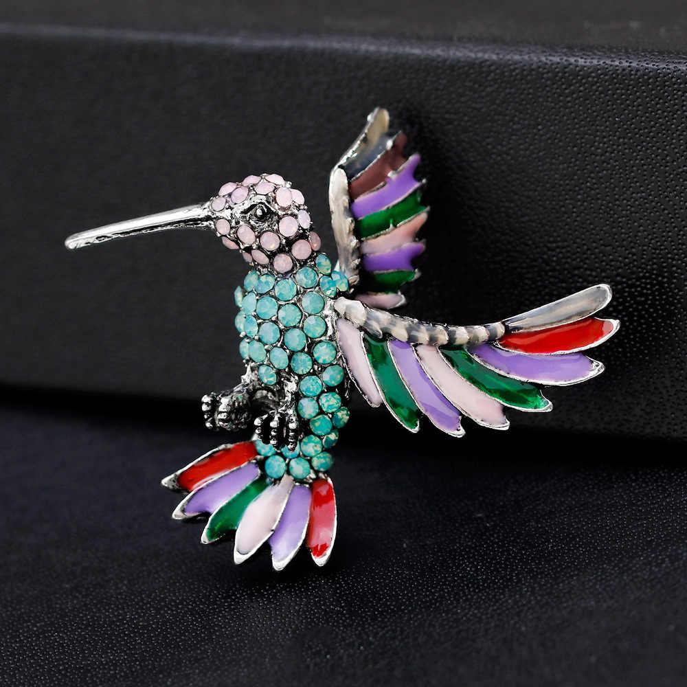 Fashion Colorful Rhinestone Hummingbird Bros 2019 Crystal Animal Enamel Pin untuk Wanita Kerah Mujer Bros Perhiasan Aksesori