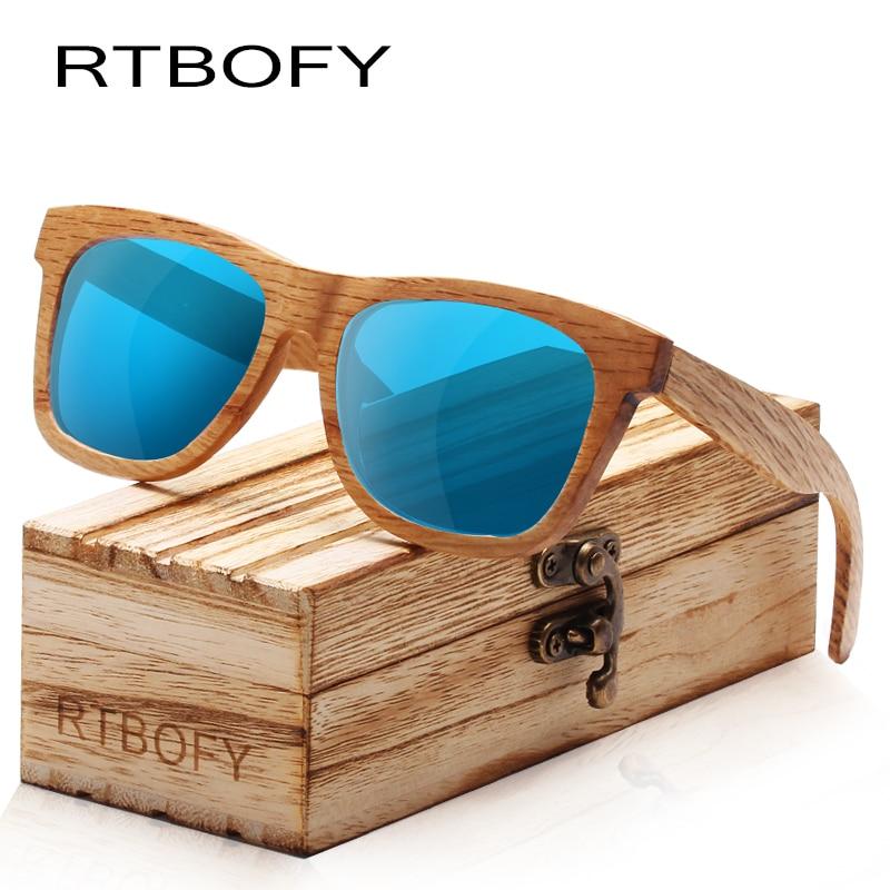 RTBOFY Holz Sonnenbrille Frauen Zebra Holz Rahmen Brillen Polarisierten Gläsern Gläser mit Holz Box UV400 Schutz Shades Brillen