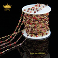5 Meter DIY Gold Plated Wire Wrapped Beaded Chain Rosary Chain Fuchsia Faceted Agate Bead for Necklace Bracelet HX028