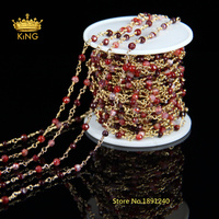 5 Meter DIY Gold Plated Wire Wrapped Beaded Chain Rosary Chain Fuchsia Faceted Agate Bead For